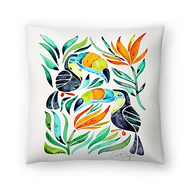 East Urban Home Cat Coquillette Toucans Throw Pillow; 18'' x 18''