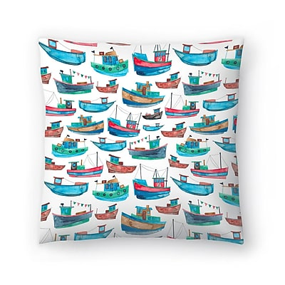 East Urban Home Elena O'Neill Fishing Boats Throw Pillow; 20'' x 20''