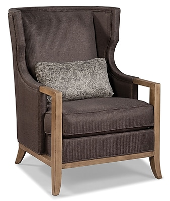 Fairfield Chair Wood Trimmed Transitional Wing back Chair; Flax