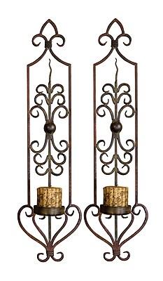 Fleur De Lis Living Candle 2 Metal Sconce Set (Set of 2)
