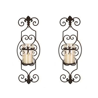 Fleur De Lis Living Cottage Iron Wall Sconce Candle Holder (Set of 2)
