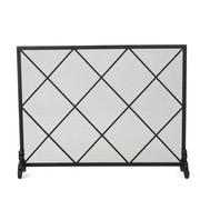 Home Loft Concepts Leyba Single Panel Iron Fireplace Screen; Black