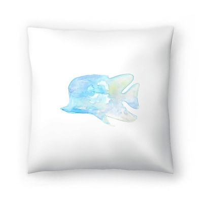 East Urban Home Jetty Printables Watercolor Angel Fish Throw Pillow; 18'' x 18''