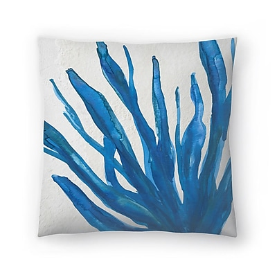 East Urban Home Jetty Printables Watercolor Seaweed Painitng 1 Throw Pillow; 14'' x 14''