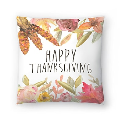 East Urban Home Jetty Printables Happy Thanksgiving Festive Throw Pillow; 14'' x 14''