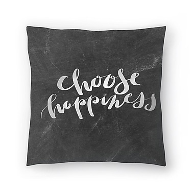 East Urban Home Jetty Printables Chalkboard Choose Happiness Typography Throw Pillow; 18'' x 18''