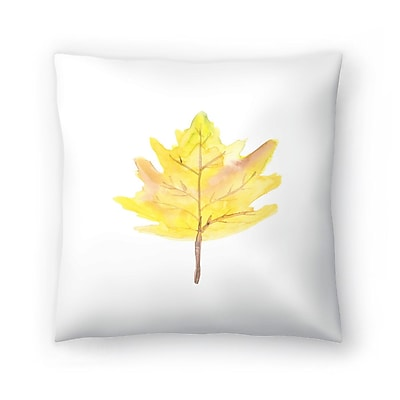 East Urban Home Jetty Printables Watercolor Leaf Throw Pillow; 18'' x 18''