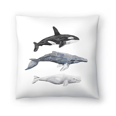East Urban Home Jetty Printables Whale Painting Trio 1 Throw Pillow; 14'' x 14''