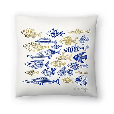 East Urban Home Cat Coquillette Fish in Klings Throw Pillow; 14'' x 14''
