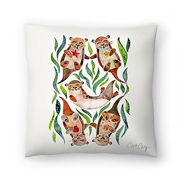 East Urban Home Cat Coquillette Five Otters Throw Pillow; 14'' x 14''