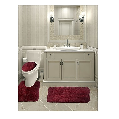 Everly Quinn Micahel Solid Plush Microfiber Bath Rug Set; Burgundy