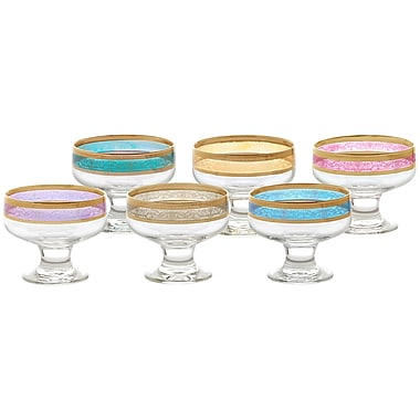 Lorren Home Trends Melania 8 oz. Pedastal Dessert Bowl (Set of 6)
