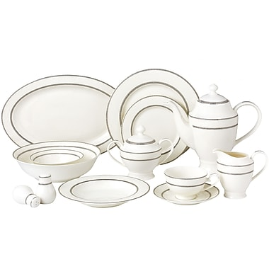 Lorren Home Trends New Bone China 55 Piece Dinnerware Set Service for 8 (Set of 57)