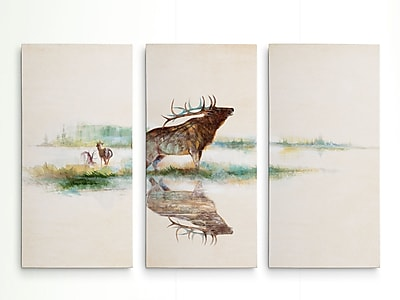Loon Peak 'Misty Elk' Acrylic Painting Print Multi-Piece Image on Wrapped Canvas; 32'' H x 48'' W