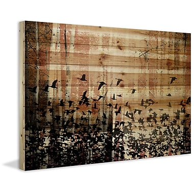 Loon Peak 'Aspen Wood' by Parvez Taj Painting Print on Natural Pine Wood; 30'' H x 45'' W