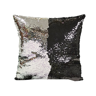 Mercer41 Laraine Sequin Throw Pillow; Black and Silver