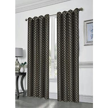 Mercer41 Lorne Geometric Blackout Grommet Single Curtain Panel; Black/Gold