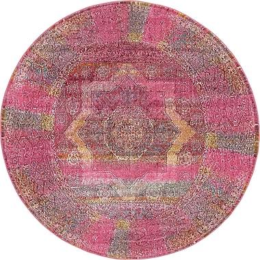 Mistana Regina Pink Area Rug; Round 8'4''