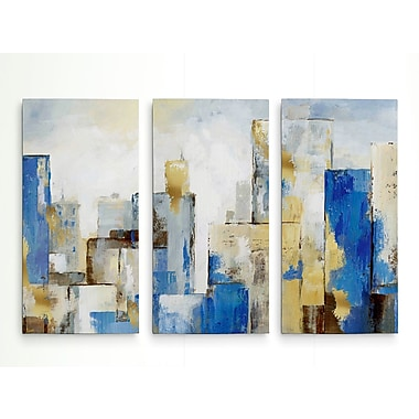 George Oliver 'City Blues II' Acrylic Painting Print Multi-Piece Image on Wrapped Canvas