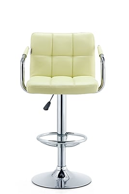 Orren Ellis Patch Adjustable Height Swivel Bar Stool; Cream