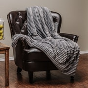Red Barrel Studio Jinny Super Soft Ultra Plush Solid Stripe Textured Sofa Couch Bed Throw; Gray