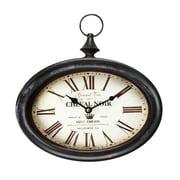 One Allium Way Griswalda Vintage-Inspired Pocket ''Cheval Noir'' Wall Hanging Clock