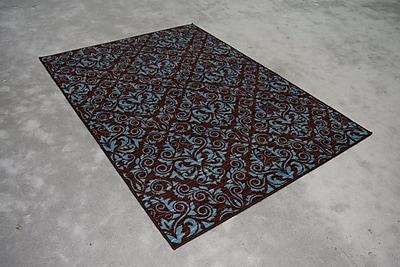 Orren Ellis Nishchita Wool Blue/Brown Area Rug; Rectangle 2' x 3'