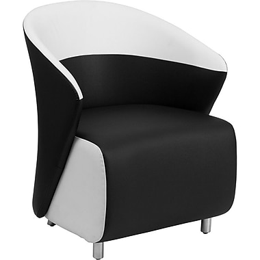 Orren Ellis Naved Leather Lounge Chair; Black / White