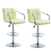 Orren Ellis Anisha Adjustable Height Swivel Bar Stool (Set of 2); Cream