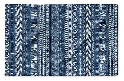 Union Rustic Dalton Symmetry Geometric Cloth Hand Towel; Indigo