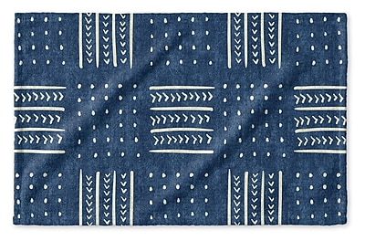 Union Rustic Dalton Symmetry Geometric Cloth Hand Towel w/ Single Sided Print; Indigo