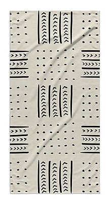 Union Rustic Dalton Symmetry Geometric Cloth Bath Towel w/ Single Sided Print; Ivory