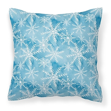 The Holiday Aisle Watercolor Snowflake Square Outdoor Throw Pillow; Blue