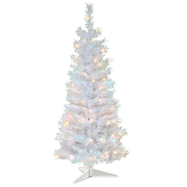 Tinsel Trees 4' White Iridescent Artificial Christmas Tree w/ 70 White Lights w/ Stand