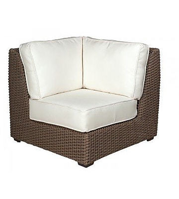 Woodard Augusta Corner Sectional Unit Patio Chair w/ Cushions; Canvas Heather Beige