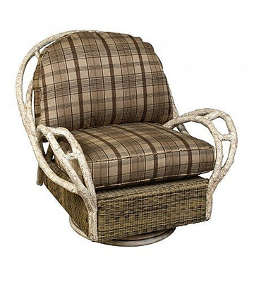 Woodard River Run Butterfly Swivel Patio Chair w/ Cushion; Summit Peony