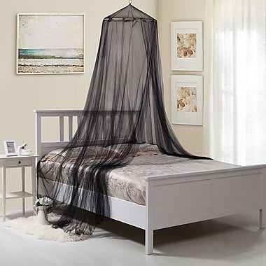 Willa Arlo Interiors Laurencho Round Hoop Sheer Bed Canopy Net; Black