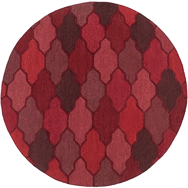 Willa Arlo Interiors Galya Red Area Rug; Round 3'6''