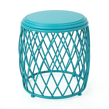 Varick Gallery Quigley Outdoor Iron End Table; Matte Teal