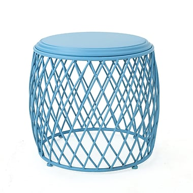 Varick Gallery Quiles Metal Side Table; Matte Blue