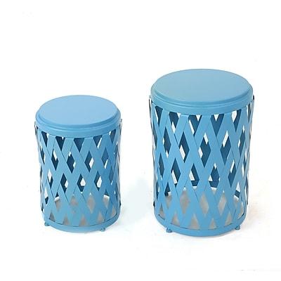 Varick Gallery Quinlan 2 Piece Nesting Tables; Matte Blue