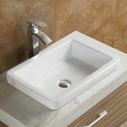 Vanitesse Semi Recessed Ceramic Porcelain Rectangle Drop-in Bathroom Sink