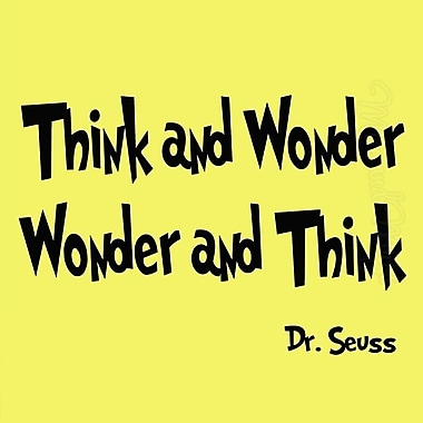 VWAQ Think and Wonder, Wonder and Think Dr Seuss Quote Wall Decal; Gold