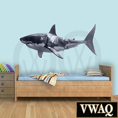 VWAQ Great White Shark Realistic Peel and Stick Removable Wall Decal; 10'' H x 24'' W