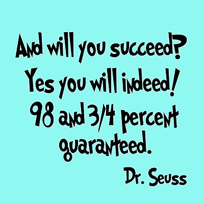VWAQ And Will You Succeed? Yes You Will Indeed! Dr. Seuss Wall Decal; Silver