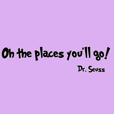 VWAQ Oh the Places You''ll Go Dr Seuss Wall Decal; Black
