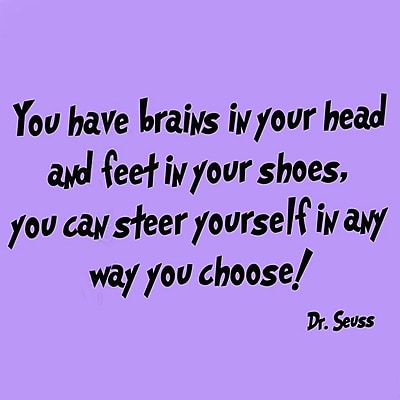 VWAQ Dr Seuss You Have Brains in Your Head Wall Decal; Purple