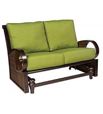 Woodard North Shore Loveseat Glider Bench w/ Cushions; Canvas Palm