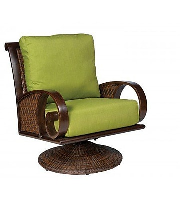 Woodard North Shore Swivel Rocking Lounge Chair w/ Cushions; Paris Honeydew