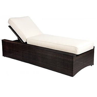 Woodard All-Weather Serene Reclining Chaise Lounge w/ Cushion; Canvas Chestnut